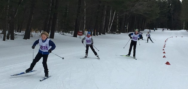 Grade 5-6 racers in the finishing stretch at the Arrowhead Elementary School Race on March 4 (Brenda Liddle)