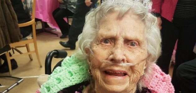 Rebecca Muzzi recently celebrated her 100th birthday at Fairvern (supplied)