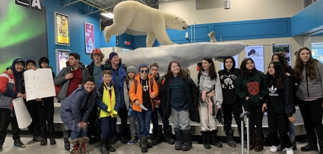 Tawingo students arrive in Yellowknife met by their friends from Deh Gáh (supplied)