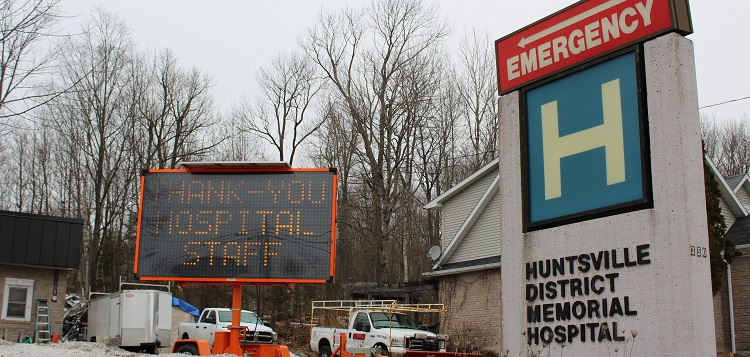 This digital sign was placed near Huntsville Hospital overnight on March 27, 2020 (Dawn Huddlestone)