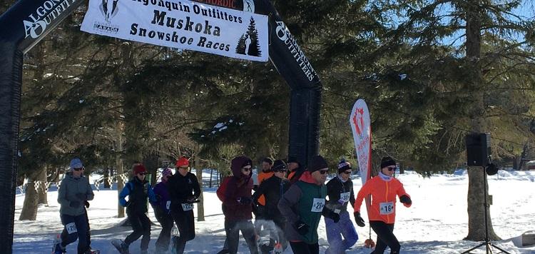 The 5k start at the inaugural Muskoka Snowshoe Races (Brenda Liddle)