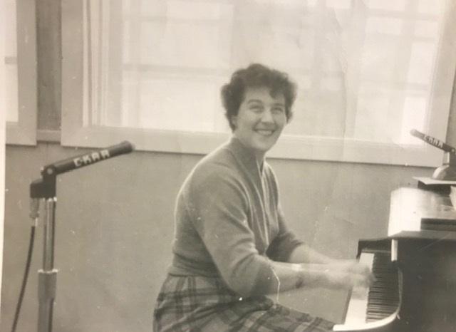 Nadine Mosbaugh at CKAR (Courtesy of Mary Mosbaugh Spence-Thomas)