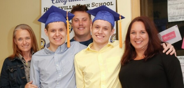 HHS graduates Jack and Ryan Long with guests (supplied)