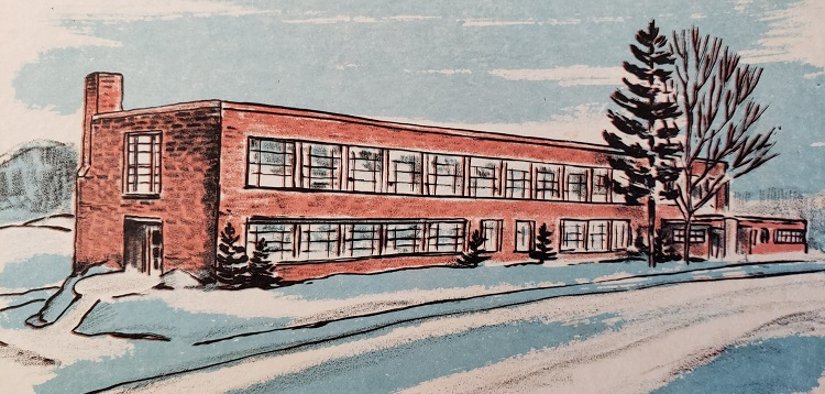 A watercolour print of Huntsville High School by local artist F.C. Johnston (Courtesy of Martha Briggs Watson)