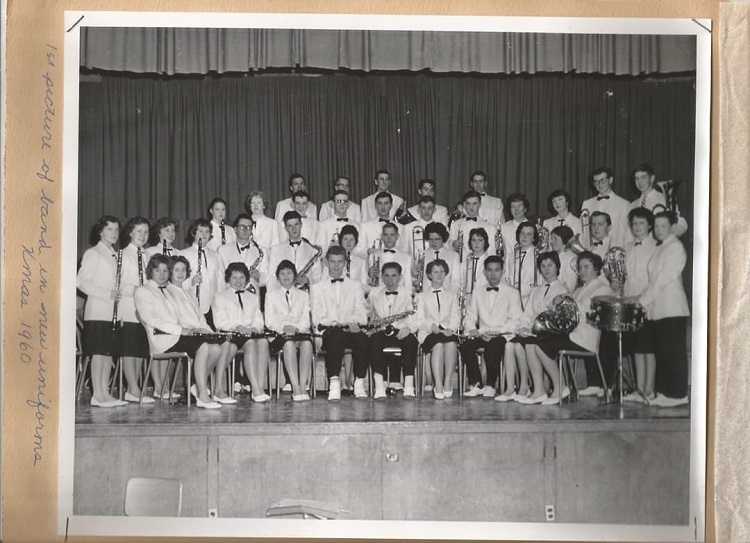 The Huntsville High School Band in 1960 in our spiffy new uniforms, ready to take on the Kiwanis Festival! (Courtesy of Martha Briggs Watson)