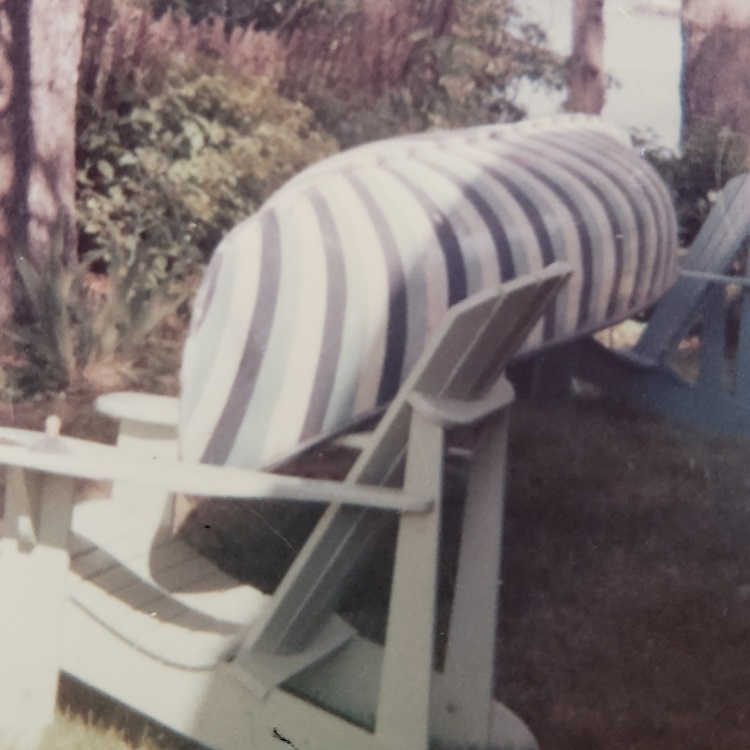 Our tippy striped canoe! (Courtesy of Martha Briggs Watson)