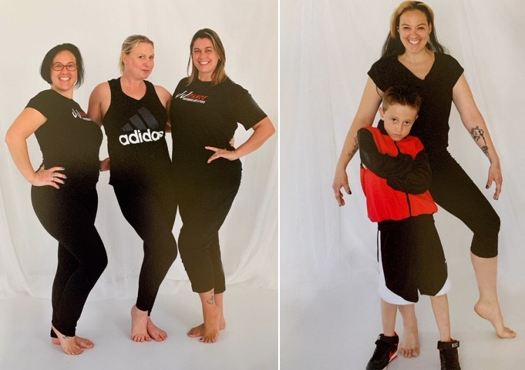 Allison Dalziel with Jennifer Johns-Main and Melanie Carnduff (above left) and with her son William Demaine (above right) (supplied)