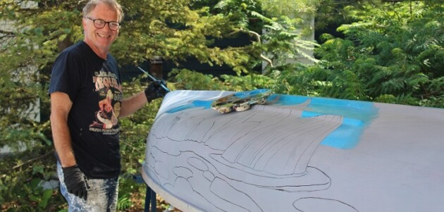 Gerry Lantaigne at work on the canoe inspired by Lawren S Harris Baffin Island in July
