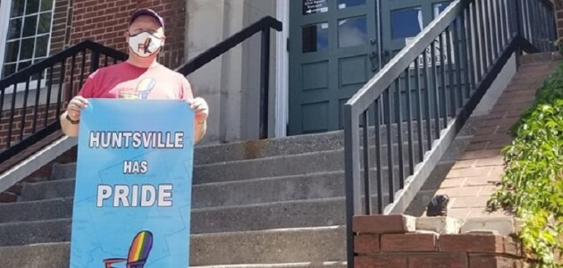 The Pride flag was hung at Huntsville's Town Hall earlier this week (supplied)