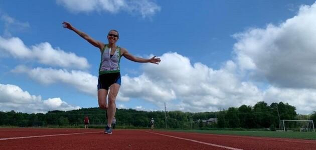 Jen Nicholson at the Conroy Park track for the Non-TriMuskokan TriMuskokan Activity Challenge (supplied)