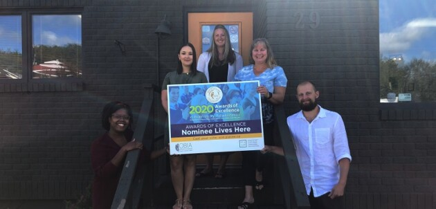(From left) Ava-Ann Allman, Calla Temple, Kristine Green, Arden McGregor, and Johnny Temple are excited with their nomination for 2020 Rehabilitation Company of the Year (Sydney Allan)