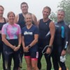 Jess Adam (second from left) organized a half-Ironman-like 70.3 mile triathlon (Don McCormick)