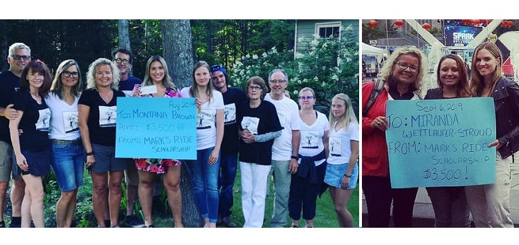 The Mark's Ride committee presented its 2019 scholarships to Montana Brown (left) and Miranda Wettlaufer-Stroud (supplied)