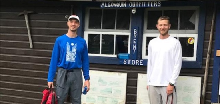 Oliver McMillan and Chris Prater at the most remote of the AO stores - Brent in Algonquin Park - during The Meanest Link (supplied)