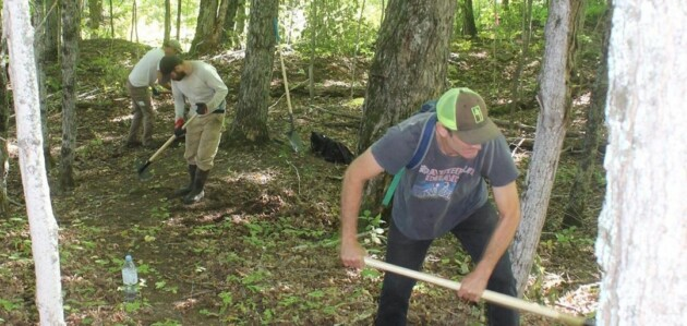 HMBA volunteers work on one of the new trails at Hidden Valley Highlands Ski Area (HMBA / Instagram)