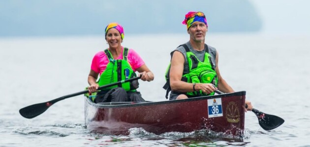 Jane Wolf and Steve Norman (both of Huntsville) on Lake of Bays during the 2016 Algonquin Outfitters Muskoka River X. (Andy Zeltkalns)