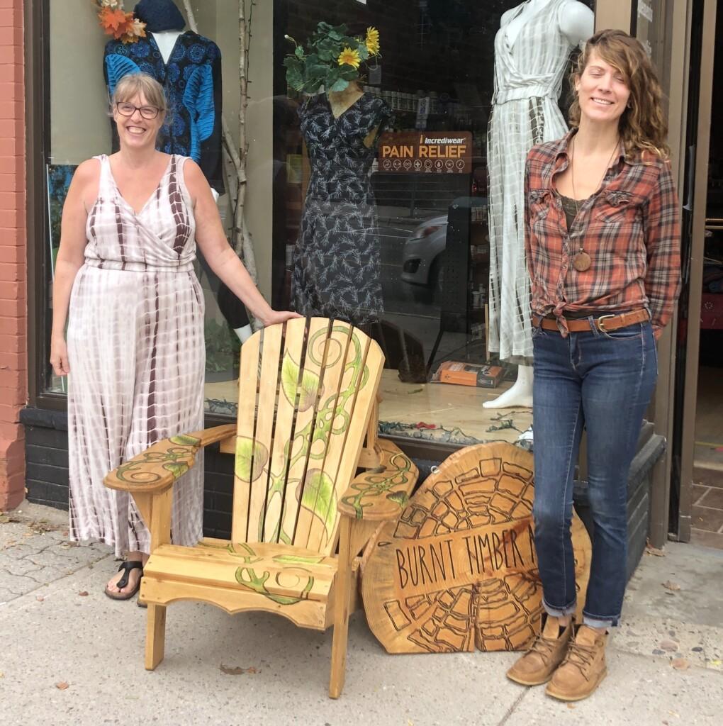 Catherine Cole (left) and Kerri-Lyn Freebird with The Great Vine's Muskoka chair