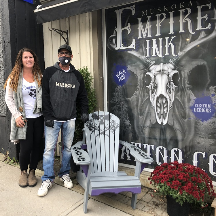 Tiffany and Mario Macido with the Empire Ink chair (Sydney Allan)