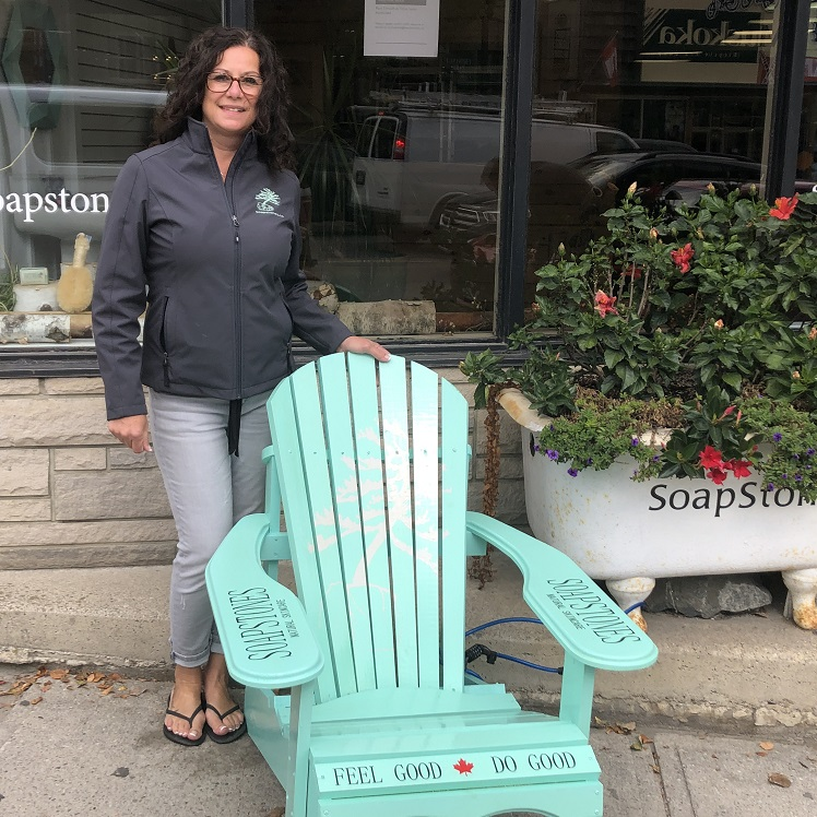 Soapstones manager of operations Maryanne Smith with the store's Muskoka chair (Sydney Allan)
