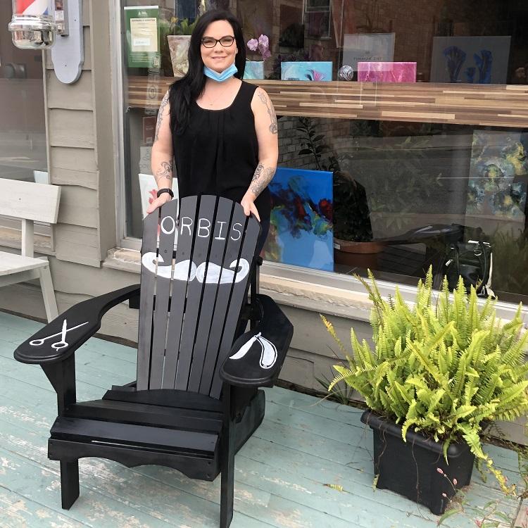 Stacey Thornton outside ORBIS Barbershop and Salon (Sydney Allan)