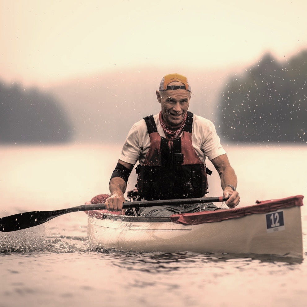 Dave Gibson on Lake of Bays during the Muskoka River X in 2016. He finished first in C1, completing a distance of 130km in a time of 17 hours and 56 minutes. (Andy Zeltkalns)