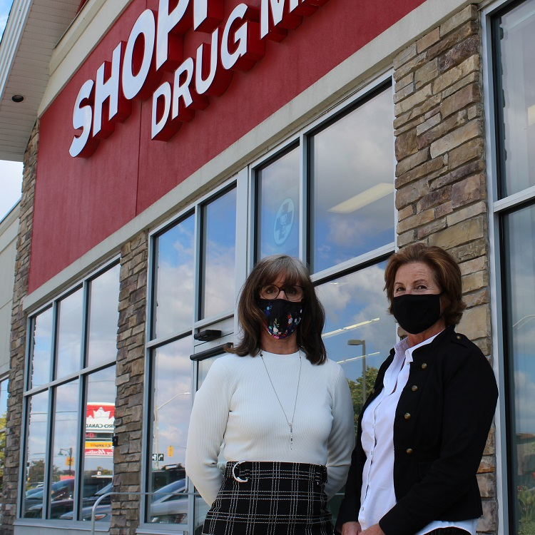Tracey Dell, VP of Operations for Shoppers Drug Mart's Ontario East region and Dana Murdy owner and pharmacist at the Huntsville location (Dawn Huddlestone)