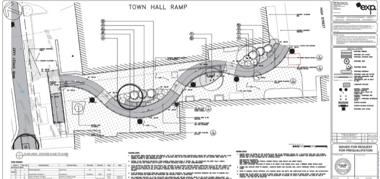 Rendering of the proposed ramp as provided by the engineer working on the Main Street streetscape.