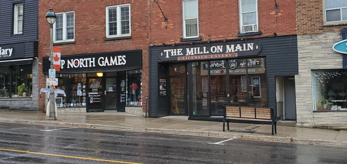 Parking spaces in front of The Mill on Main will become a patio in the Main Street redesign.