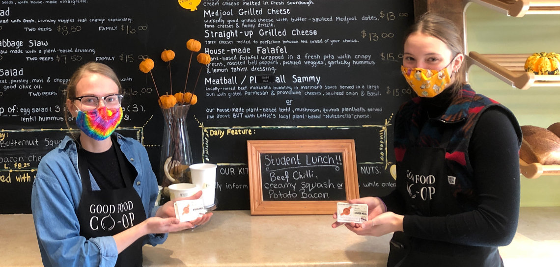 Staff members Megan Mace (left) and Ally Goldring at the Good Food Co-op's Main Street café (Sydney Allan)