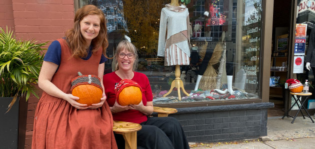 Sarah Downes (left) and Catherine Cole at The Great Vine are ready for this year's Pumpkin Pop-Up (Sydney Allan)