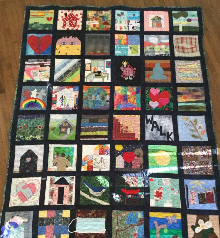 Almost 50 squares were submitted by community members for the COVID-19 isolation quilt (Mary Spring)