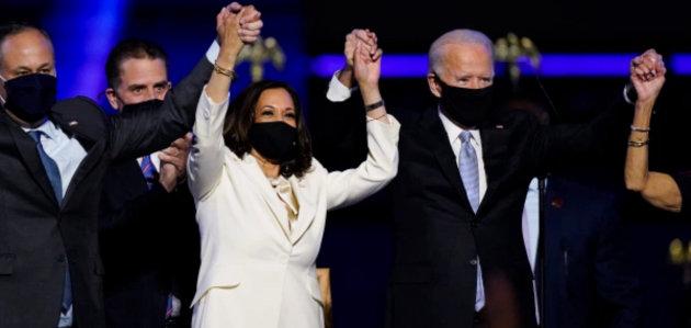 U. S. Vice President-elect Kamala Harris and President-elect Joe Biden on Nov. 7, 2020 (Andrew Harnik/ Associated Press)