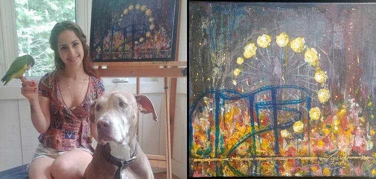 Artist Natasha Banks and her painting