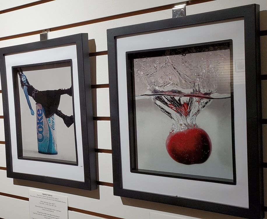 Two of the Grade 11 photos in the Raw Creativity exhibit (Doppler)