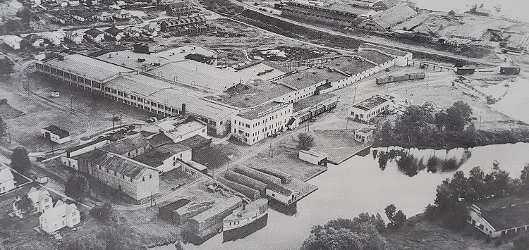 The former Anglo Canadian Leather Company site on the Muskoka River (Photo courtesy of Muskoka Heritage Place)
