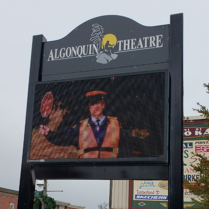 An image of Ray Porter as a crossing guard at the high school has been shared on the sign outside the Algonquin Theatre.