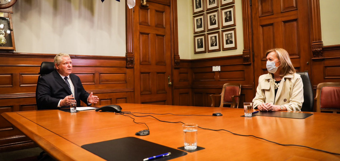 Premier Doug Ford and Deputy Premier and Minister of Health Christine Elliott (@fordnation/Twitter)