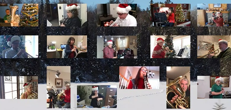 Some of the members of the Muskoka Concert Band in a virtual performance of