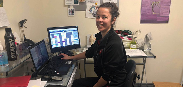 ProActive Rehab physiotherapist Stacey Van Schyndel prepares for a virtual appointment (supplied)