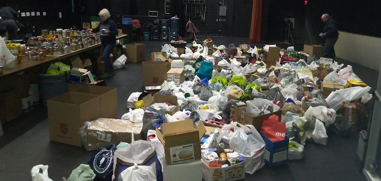 Project Porchlight Food Drive 2020 donations on the Algonquin Theatre stage (supplied)