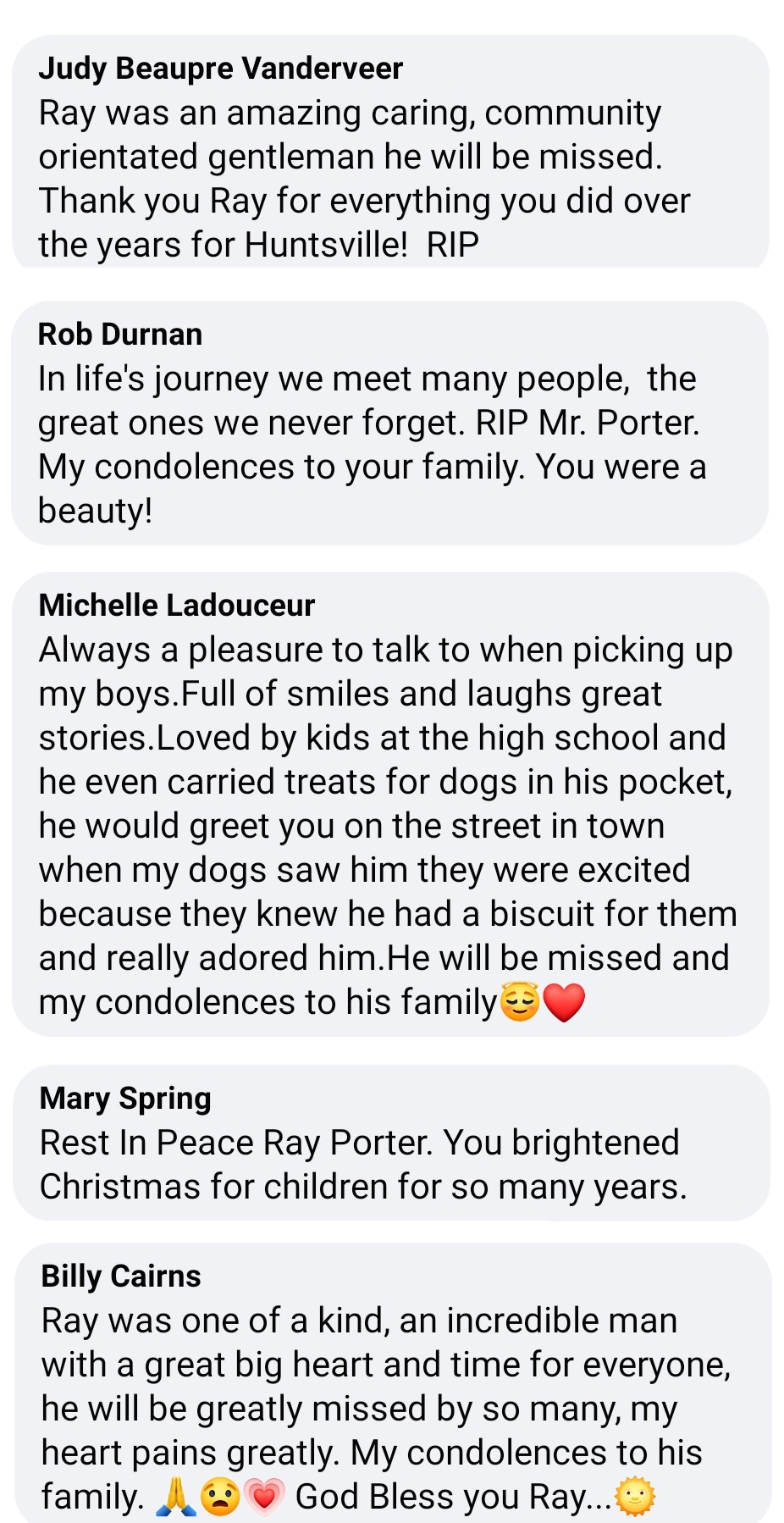 Just a handful of the comments residents have made about Ray Porter