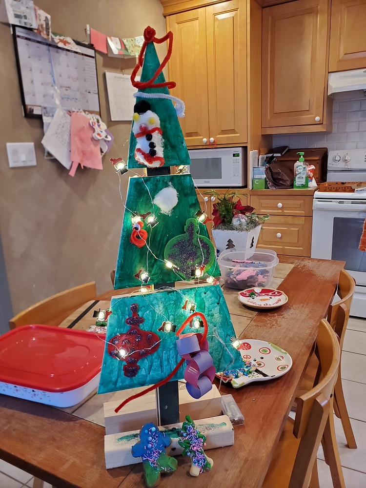 Terry and Linda Exell decorated their wooden tree with their grandchildren (supplied)