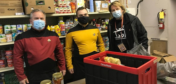 USS Nomad members drop off food drive donations at The Table (supplied)