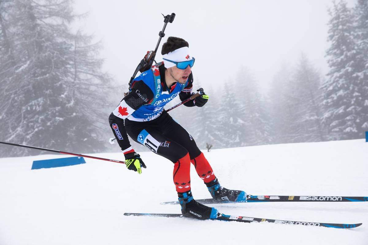 Trevor Kiers on his way to a 68th place finish (Biathlon Canada)