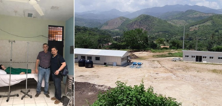Dr. Hector Roldan (right) and Jaun Vasquez with a training mannequin. In the photo at right is the facility they are building. (supplied)