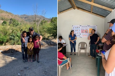 Dr. Roldan with some Guatemalan children (left) and teaching local midwives and nurses (right). (supplied)