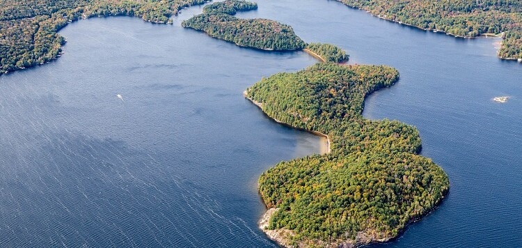 An aerial view of Langmaid's Island in Lake of Bays (supplied)