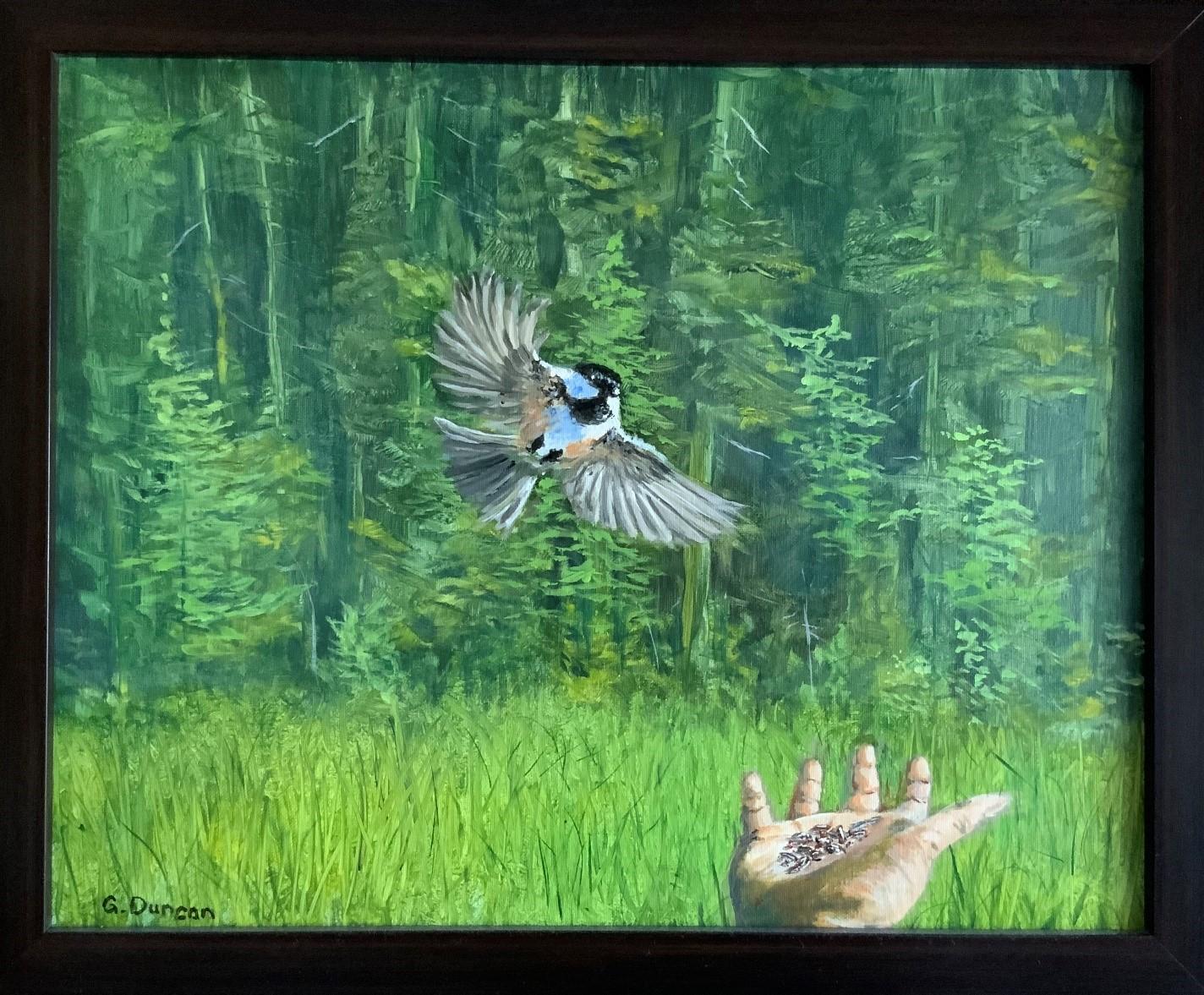 """Chickadee!"" by Gordon Duncan, 16"" x 20"" oil on canvas"