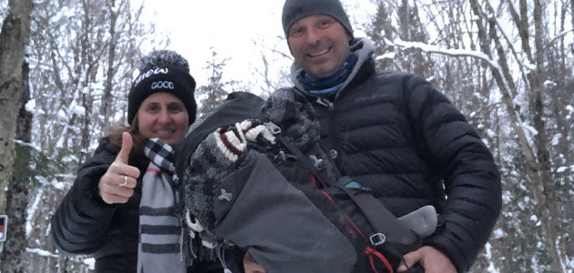 Brandy and Dave Van Gelder with the returned backpack (supplied)