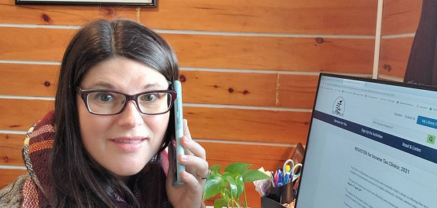 Cortney LeGros wants the community to know that HPL's annual tax clinic is still available (supplied)